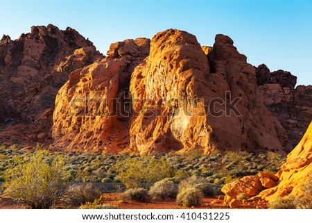 Red Sandstone Rocks, Valley of Fire State Park, Nevada, USA - stock photo