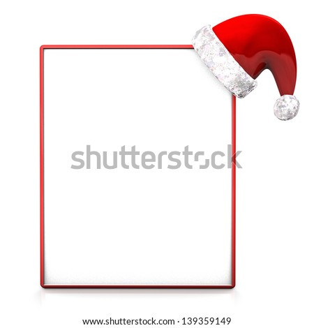 Red santa cap with sign board on the white background. - stock photo