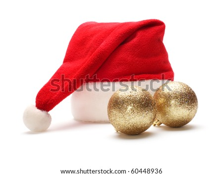 red santa claus hat and christmas ball - stock photo