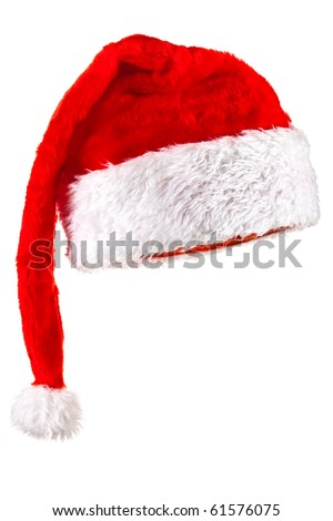 Red Santa Claus Hat. Isolated on white. - stock photo
