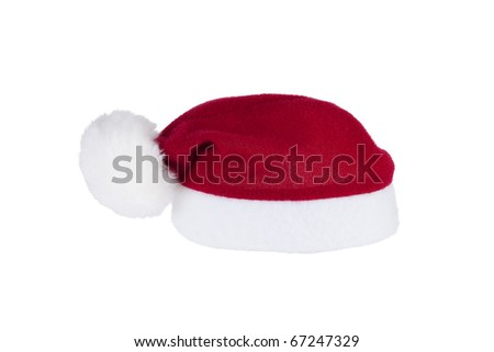 Red Santa Claus hat isolated on white. - stock photo