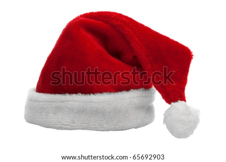 Red santa claus hat on white background. - stock photo