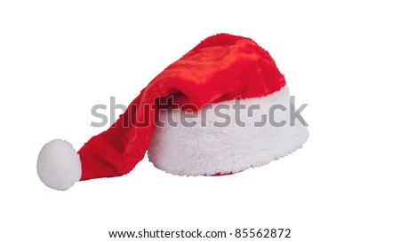 Red santa claus hat over white background