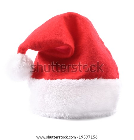 Red Santa hat. Isolated - stock photo