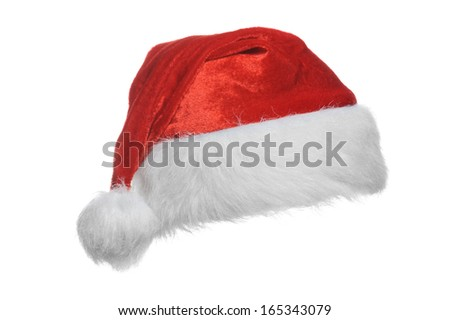 Red santa hat, isolated on white - stock photo