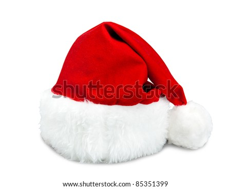 Red Santa hat isolated on white background - stock photo