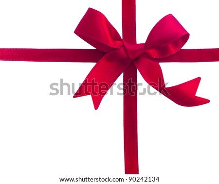 red sateen bow - stock photo