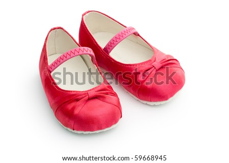Red satin baby shoes - stock photo