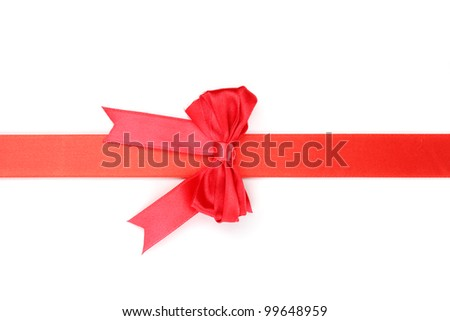 Red satin bow and ribbon isolated on white