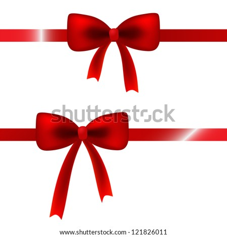 Red satin bow isolated on white for your card, web design