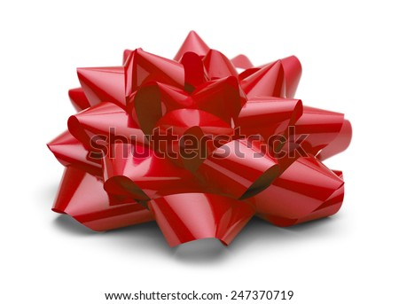 Red Satin Bow Side View Isolated on White Background. - stock photo