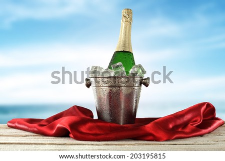 red satin champagne and pot  - stock photo