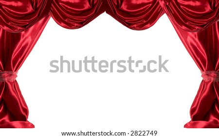 Red satin curtains on a white background.