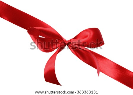 Red satin gift bow isolated on a white background