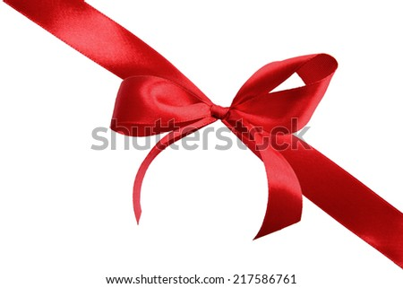 Red satin gift bow on a white background - stock photo