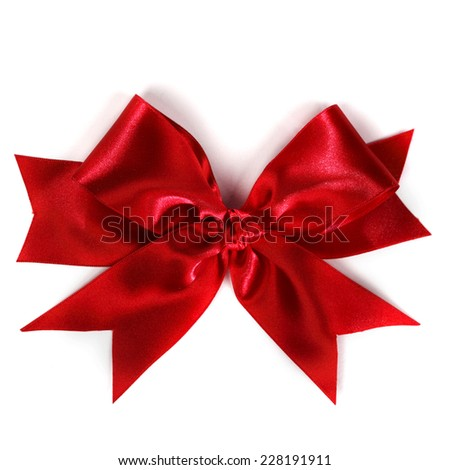 Red satin gift bow ribbon isolated on white - stock photo