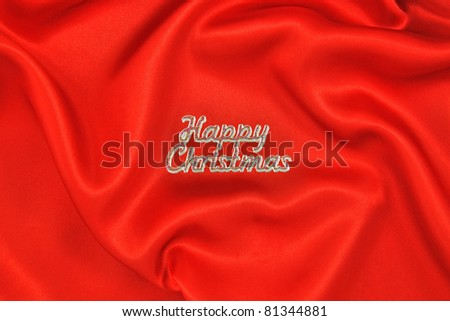 Red Satin Happy Christmas Background - stock photo