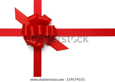 Red Satin Present Bow with Ribbon Isolated on White Background. - stock photo