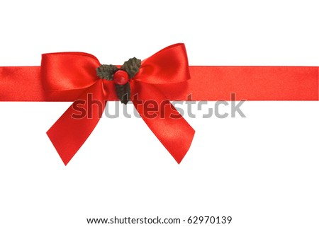Red satin ribbon and bow with holly isolated on white background - stock photo