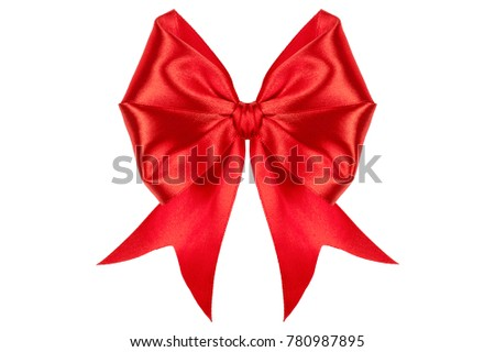 Red satin ribbon band stripe fabric bow isolated on white background with clipping path