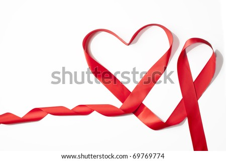 Red Satin Ribbon forming Heart shape for Valentines Day