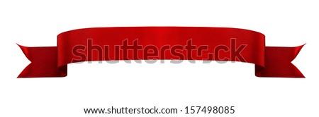 Red satin ribbon isolated on white background - stock photo