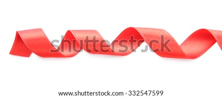 Red satin ribbon isolated on white, close up