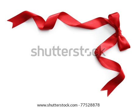 Red satin ribbon with bow isolated on white background - stock photo