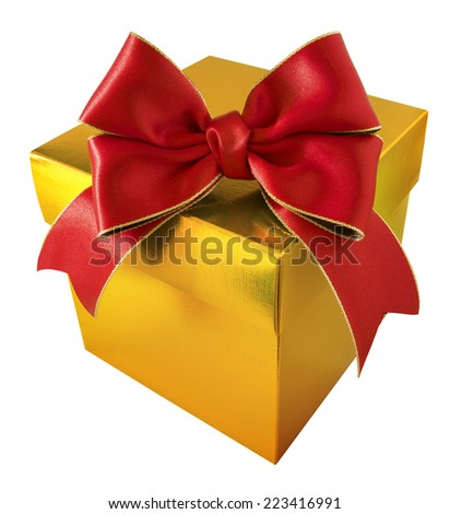 Red Satin Ribbon with Gold Gift Box on white background - stock photo