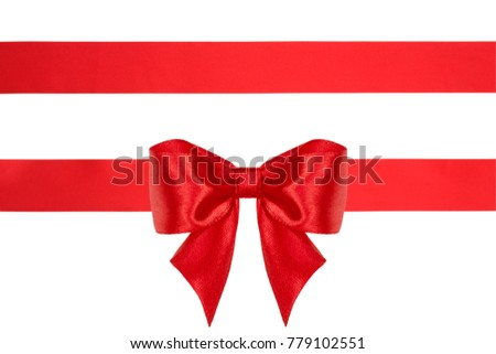 Red satin ribbons with bow with ribbons with tails isolated on white background