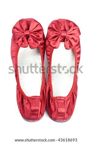 Red Satin Slippers Isolated on White - stock photo