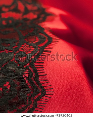 Red satin with black lace vertical format