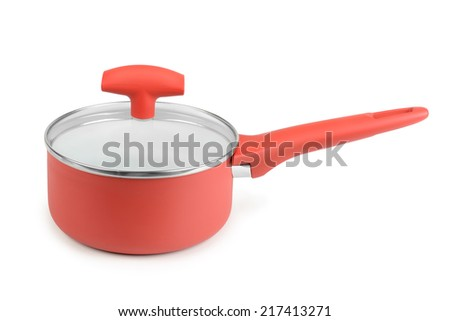Red saucepan isolated on white background - stock photo