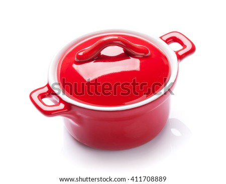Red saucepan. Isolated on white background - stock photo