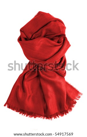 red scarf isolated on white - stock photo