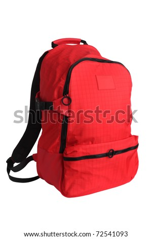 Red school backpack isolated on white - stock photo