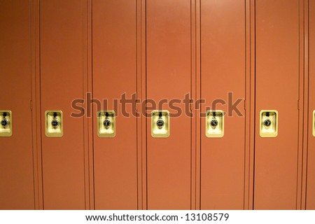Red School Lockers in High School Hallway
