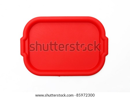 Red School Lunch Serving Tray / Plate isolated on white background - stock photo