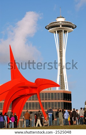 Red Sculpture in front of Space Needle