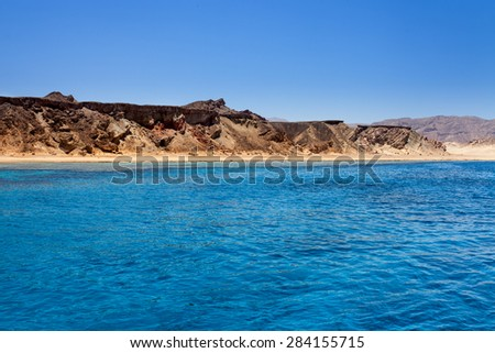 Red sea and island Tiran in Egypt. Sea view. - stock photo