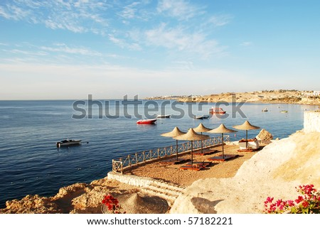 Red Sea coast in the early morning, Egypt, Sharm al-sheikh - stock photo