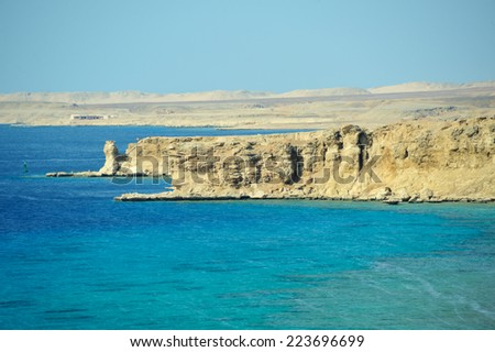 Red Sea  coastline in  Sinai, Egypt - stock photo