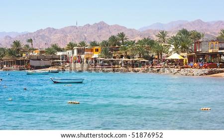 Red sea coastline near town Dahab - stock photo