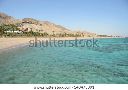 Red sea view with mountains background - stock photo