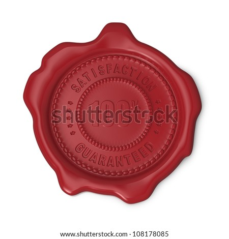 Red seal of approval 100% guaranteed satisfaction on white background - stock photo