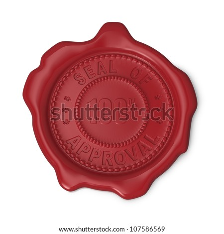 Red seal of approval 100%  on white background - stock photo