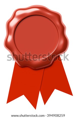 Red sealing wax seal stamp without sign on red ribbon isolated on white background, 3d illustration - stock photo