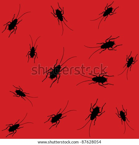 red seamless pattern with black roaches. raster version - stock photo