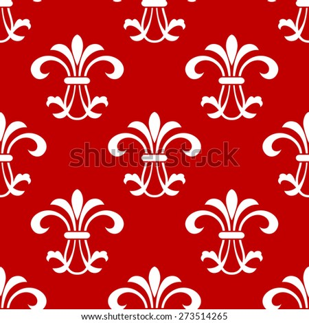 Red seamless pattern with floral  motif in square format suitable for textile and wallpaper design - stock photo