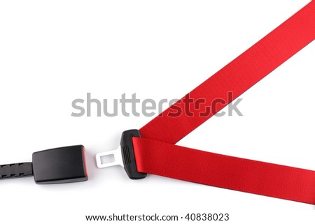 Red seat belt with a fastener and the lock isolated on the white background - stock photo